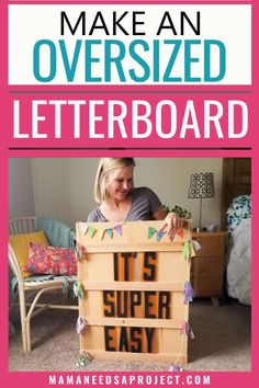 Learn how to turn a few pieces of scrap wood into trendy homemade decor with this easy tutorial on how to make a big letter board! Big Letters, Marquee Letters, Diy Living Room Decor, Family Room Decorating, Woodworking Tutorials, Woodworking Skills, Diy Fence, Fence Ideas, Porch Ideas