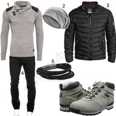 Herren-Outfit mit Winterjacke und Timberland Boots (m0635) #outfit #style #fashion #menswear #herren #männer #shirt #mode #styling #sneaker #menstyle #mensfashion #menswear #inspiration #cloth #clothing #ootd #herrenoutfit #männeroutfit