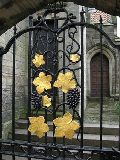 Decorative Wrought Iron gate, at the entrance to the courtyard of The Scottish Episcopal Church - St Andrews.
