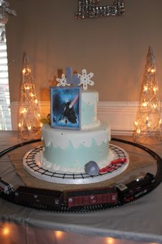 Polar Express Birthday Cake