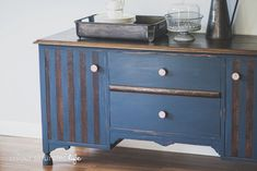 Colour Saturated Life | Striped Sideboard with Miss Mustard Seed Milk Paint Artissimo & Apron Strings