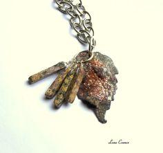 Pendant Enameled Leaf Turbulence Gray Leopard Skin by LunaEssence, $35.00