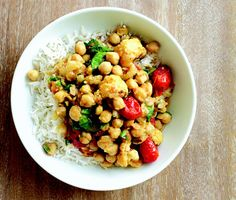 Chickpea Curry with Roasted Cauliflower and Tomatoes