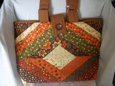 Scrappy Fall Colors Large Tote | Library Book Bag | Large Market Carryall | Brown Orange Tote Bag | Inventory Price Reduction