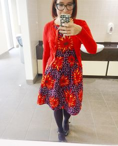 08/11/16 Saga dress (@simplicity_creative_group 1610), Louche cardigan and Red or Dead shoes - which are so fabulous I'll have to take a separate photo of them (purple glitter with bows on!) #memadeeveryday #sewcialists #africanwax #simplicitybyme
