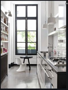 Shelving narrow galley kitchen, one sided.