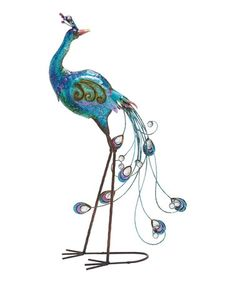 This Back Facing Metal Peacock Statue is perfect! #zulilyfinds