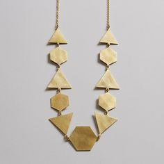 Hexagon / Triangle Geometric Brass Necklace | Ella Cooley