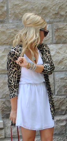 Cute for a girls night out! White dress and animal print sweater
