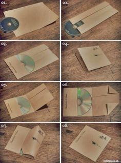 DIY How to make a CD case with one piece of paper! DIY How to make a CD case with one piece of paper! DIY How to make a CD case with one piece of paper! Cd Diy, Pochette Cd, Cd Cases, Cool Ideas, Amazing Ideas, Crafty Craft, Paper Crafting, Diy Paper, Kraft Paper
