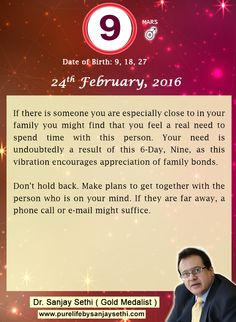 #Numerology predictions for 24th February'16 by Dr.Sanjay Sethi-Gold Medalist and World's No.1 #AstroNumerologist.