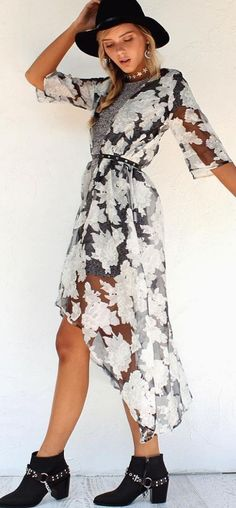 #summer #musthave #outfits | White And Grey Lovely Dress