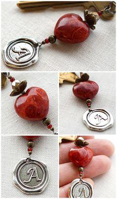 Monogram Keychain or Necklace Personalized Keychain by KapKaDesign