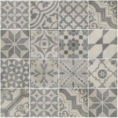 vintage serie 25x25cm. Vintage serie 25x25cm. Bij deze vintage tegels bestaat er de keuze om te kiezen voor een combinatie decortegels met een neutraal gekleurde tegel (uni). Hierdoor kan men spelen met patronen en de ruimtes inrichten naar wens.