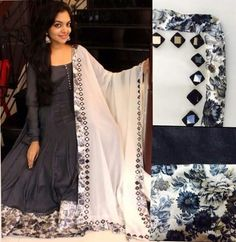 Floral black and white with mirror work Indian Gowns, Indian Attire, Pakistani Dresses, Indian Outfits, Indian Wear, Salwar Pattern, Anarkali Dress, Anarkali Tops, Anarkali Suits