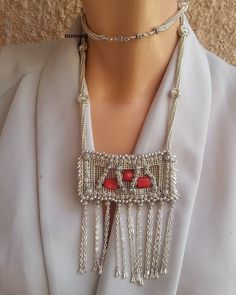 Yemenite filigree style necklace made of silvered glass beads and coral