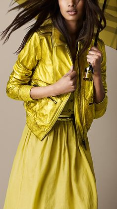 Metallic Leather Bomber Jacket | Burberry. Yellow on yellow!