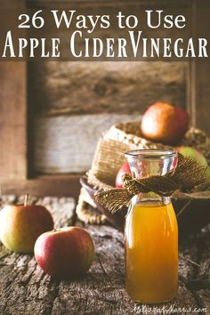 26 ways to use apple cider vinegar in your medicine cabinet, your cleaning cupboard, and your cooking for a more natural and healthy home! One of our favorite things to use on the homestead. These are great old-fashioned tips for natural remedies with apple cider vinegar