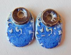 "Porcelain Earrings "" Blue-silver "" By Mª Carmen Rodriguez https://www.facebook.com/groups/CeramicArtBeadMarket"