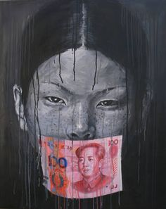 """Silent Chinese girl+100 Yuan,"" original portrait painting by artist Sheng Qi (UK) available at Saatchi Art"