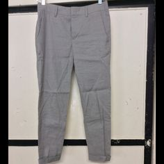 Vince Peg Leg Pants 0, linen cotton button and tab closure, NWOT but I did try them on. A neutral mid grey Vince Pants Ankle & Cropped