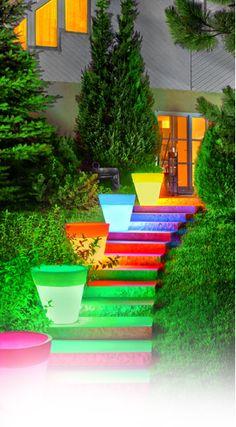 illuminated planters for the backyard garden area! So cute!!