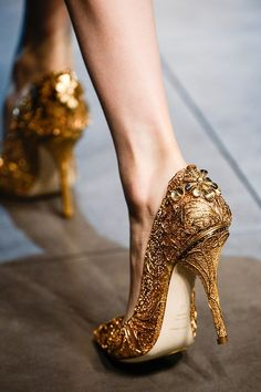 gold accent wedding shoes