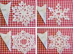 Pictures on request how to make snowflakes from paper circuits