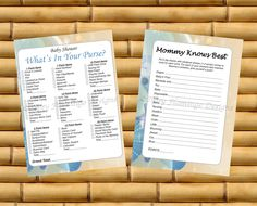 Baby Shower Games, Mommy Knows Best, What's In Your Purse, Shower Games, TWO PACK, Ocean Theme, Printable, Instant Download - TFD285 by TipsyFlamingoDesigns on Etsy