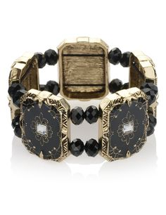 M&S Collection decadent multi-faceted bead bracelet. Add this unusual bracelet to finish off an outfit.