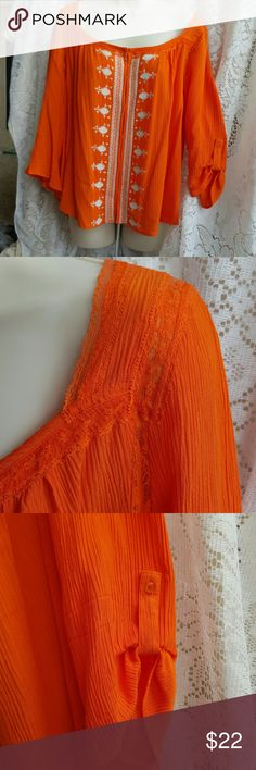 by BKE boho top XL by BKE bright orange BOHO top, XL, 100% rayon crinkle fabric,  very flowy,  awesome lace detail on shoulders and down back add seen in pictures,  roll tab sleeves with button, hook and eye closure down front,  NEVER WORN,  smoke free home BKE Tops Blouses