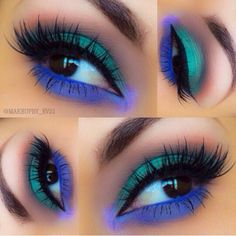 Turquoise and royal blue makeup