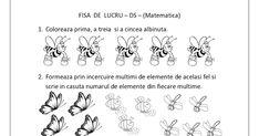 FISE DE LUCRU CU INSECTE - MATEMATICA   Mai jos am postat cateva fise de lucru cu insecte pentru copiii de gradinita. Fisele de matematica d... Mai, Words, Insects