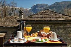 Breakfast in mountainous Epirus! Macedonia, Brunch Party, Mountain Resort, Hotel Offers, Cheese, Eat, Breakfast, Ethnic Recipes, Travel