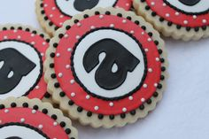 Ladybug Inspired Letter Cookies by SugarRushMeCookies on Etsy https://www.etsy.com/listing/243251646/ladybug-inspired-letter-cookies