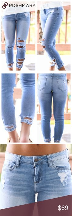 """Vintage Crop Denim Jeans A must have for your denim collection! These sexy skinny crop jeans are light washed, with a destroyed vintage look.  Nice and stretchy. True to size.   * Before asking, please note whatever sizes are listed below are all I currently have in stock.  ▫️Add to Bundle"""" to add more items in my closet or """"Buy"""" to checkout here with your size.  ↓Follow me on Instagram ↓         @ love.jen.marie Jennifer's Chic Boutique Pants Skinny"""