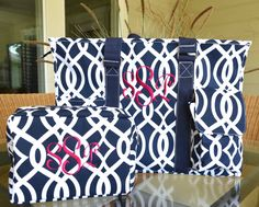 Navy Blue Vine Tote Large Utility Tote Nurse's by StitchedInStyle1