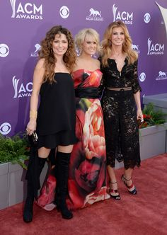 Shania Twain, Carrie Underwood, and Faith Hill arrive at the 48th Annual Academy of Country Music Awards. April 7, 2013