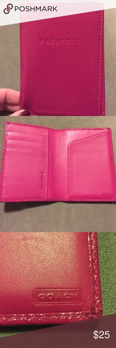 Shop Women's Coach Pink size OS Accessories at a discounted price at Poshmark. Description: Gently used hot pink Coach passport holder. Passport Cover, Continental Wallet, Hot Pink, Fashion Design, Fashion Trends, Accessories, Style, Swag, Pink
