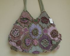 Geranium wool purse. These flowers are crocheted, but maybe could be done with felted sweater flowers.