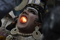 Week of Feb. 24, 2017:     Jalandhar, India:    An Indian Hindu man dressed as Lord Shiva holds a lit candle in his mouth as he takes part in a religious procession ahead of the Maha  Shivratri Festival in Jalandhar, India, on February 22.