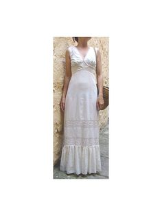 1970 maxi dress cream crochet lace small by lesclodettes on Etsy