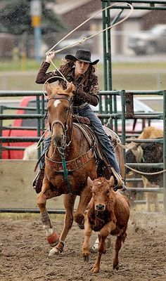 Naked cowgirls roping