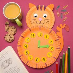 Paper Plate Cat Clock The post Paper Plate Cat Clock appeared first on Knutselen ideeën. Kids Crafts, Recycled Crafts Kids, Paper Plate Crafts For Kids, Summer Crafts For Kids, Cat Crafts, Toddler Crafts, Preschool Crafts, Paper Crafting, Craft Projects