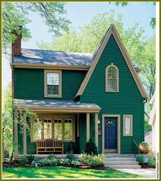 Trendy Ideas For Exterior Bungalow Colors Tiny House Little Cottages, Cabins And Cottages, Little Houses, Small Cottages, Tiny Houses, Small Cabins, Green Houses, Log Cabins, Cute Cottage