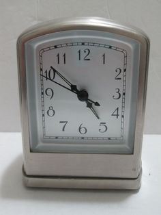 Pottery Barn Table Desk Shelf Clock Alarm All Metal #PotteryBarn #tableclock #clock #allmetal #metal #stainlesssteel #stainless #steel #collectible #silvertone