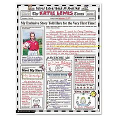 "Scholastic Instant Personal Poster Sets, Extra Extra Read All About Me, 17"" x 22"", 30/Pack, White"