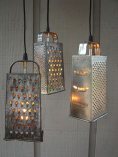 Upcycled Vintage Colander and Grater Pendant Light