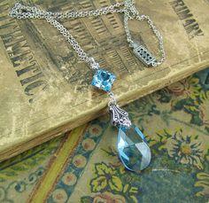 Aquamarine Necklace March Birthstone Square by CreatedinTheWoods