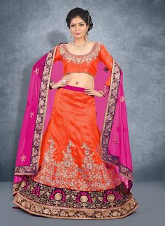 Everyone will admire you when you wear this clad to elegant affairs. Be an angel and create a smashing impact on everyone by wearing this orange net lehenga choli. This beautiful attire is showing som...